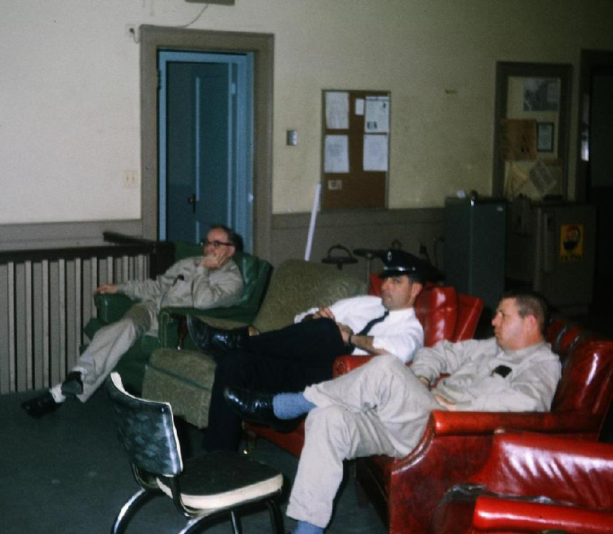 Old Station 3 dayroom - 1969 - Sid Trower, Lt. Joe McDermott and Ray Bantz (Photo by Ed Doiron)