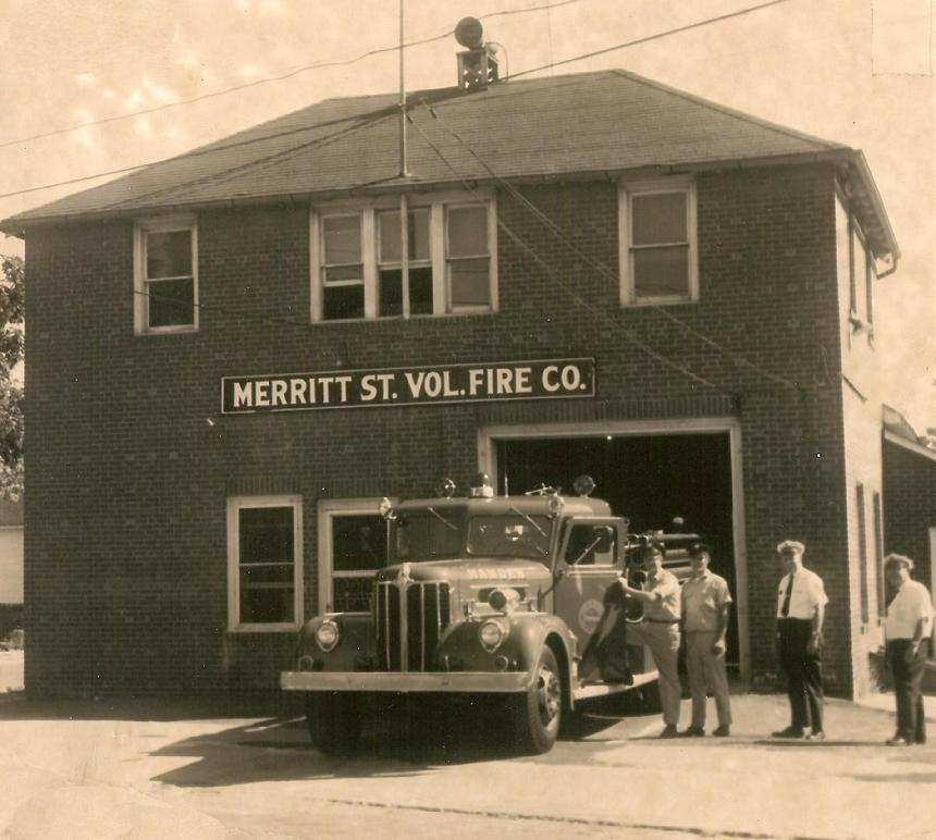 1970 - Just before Station 6 closed.  Engine 6 (1954 Maxim 750 g.p.m.)  L-R:  Fred Knudsen, Charlie Cargan, Chief V. Paul Leddy and D/C Daniel Hume (Photo by I. Sneiderman)